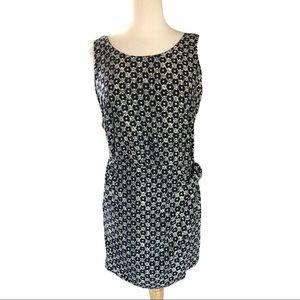 BANANA REPUBLIC Navy Print Wrap Dress Zip Back